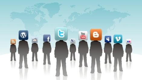 Characters around the world with social media icons for heads.